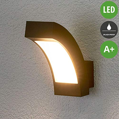Lampenwelt LED Wandleuchte außen 'Lennik' (spritzwassergeschützt) (Modern) in Schwarz aus Aluminium (1 flammig, A+, inkl. Leuchtmittel) - LED-Außenwandleuchten Wandlampe, Led Außenlampe, Outdoor