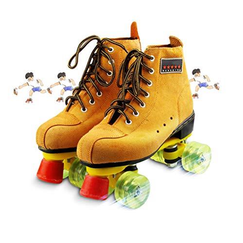 WING Artistic Retro Rollschuhe Disco Roller Skates Damen Klassische Quad Quad Skates Wildleder Unisex Erwachsene Jugendliche Rollschuhe mit 4 Rädern LED,Gelb,39