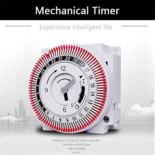 Küchenuhr Mechanische Timer 250V Zeitzähler Erinnerung 15min 24h Küchen Countdown Energiespar Controller Industrie-Zeitschalter (Color : White)