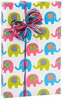 BABY ELEPHANT MARCH Girl or Boy Gift Wrap Wrapping Paper 16 Foot Roll by Buttons Bags and Bows