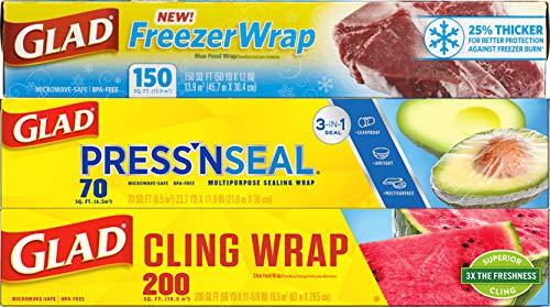 Glad Plastic Food Wrap Variety Pack - Press'n Seal Wrap - FreezerWrap - ClingWrap (Pack of 3) (Package May Vary)