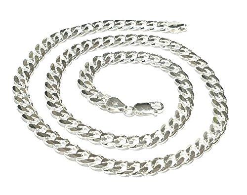 Cadena De Plata Esterlina 7 mm para hombre Diamante Corte Nonna Cadena Collar Langosta Broche