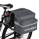 Lixada Fahrradtaschen Gepäckträger Fahrradtasche Fahrrad Gepäckträgertasche mit Reflektierende Streifen Verstellbare für Radfahren Freien Reisen Schwarz