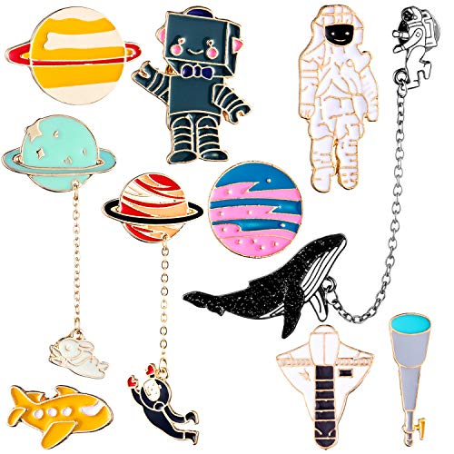 Gejoy 10 Pieces Enamel Pin Set Cartoon Lapel Brooch Space Badge Pin for Clothes Bag Jacket Backpack Decoration (Style Set 1)