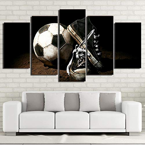 HD Printed 5 Piece Canvas Art Soccer Shoes Painting Modular Sport Poster Wall Pictures Home Decor(Enmarcado)