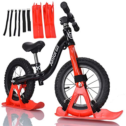 Guoyajf Juego De Tabla De Trineo De Nieve para Piezas De Scooter De Bicicleta De Equilibrio De 12 Pulgadas, Sin Entrenamiento De Pedal, Bicicleta, Andador De Esquí para Niños Y Niños Pequeños, Rojo