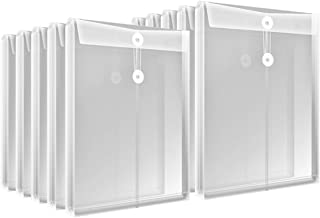 Letter Size Clear Plastic String Envelopes with Expansion File Paper Project Folder Envelope Holder 10Pcs