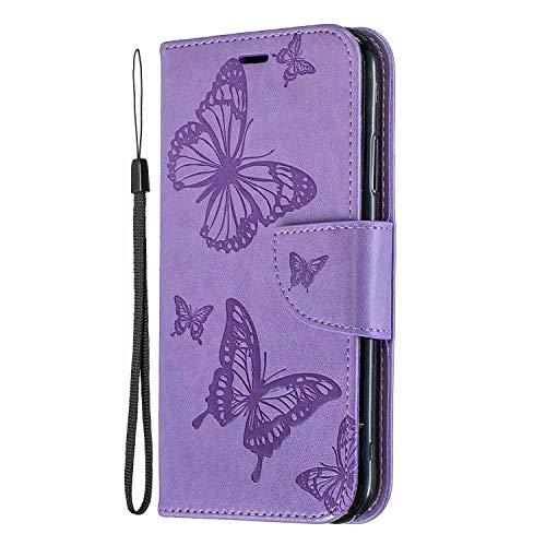 iPhone XR Hülle, SONWO Schmetterling Blumen Muster Schutzhülle PU Leder Brieftasche Kratzfestes Ledertasche für Apple iPhone XR mit Ständer und Kartenfach, Violett