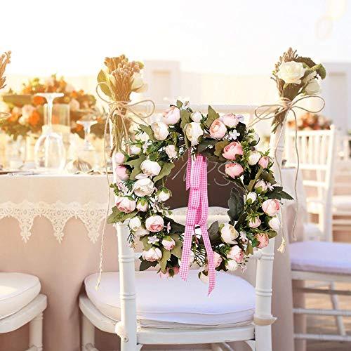 Fancylande slinger met kunstbloemen, 35 cm, roze, kunst, lente, decoratie, bloem, zijde, om op te hangen aan de muur, toegangsdeur, Valentijnsdag, huwelijksdecoratie
