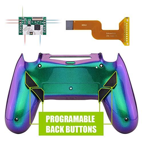 eXtremeRate Dawn Programmierbares Remap Kit für PS4 Controller mit rückseitem Gehäuse Hülle Case&Mod-Chip&4 Rückseiten Tasten-für Playstation 4 Controller JDM 040/050/055(Grün Lila)