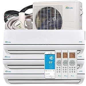 Senville 27000 BTU Multi Zone Ductless Mini Split Air Conditioner and Heat Pump (9000+9000+9000)