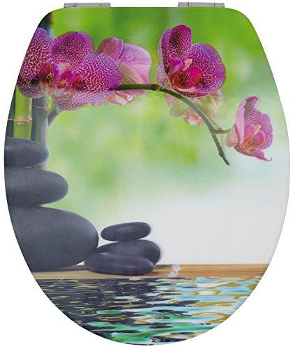 WC-Deckel 3D-Motiv Absenkautomatik Holzkern MDF WC-Sitz - versch. Motive, Muster:Bali (Orchidee)