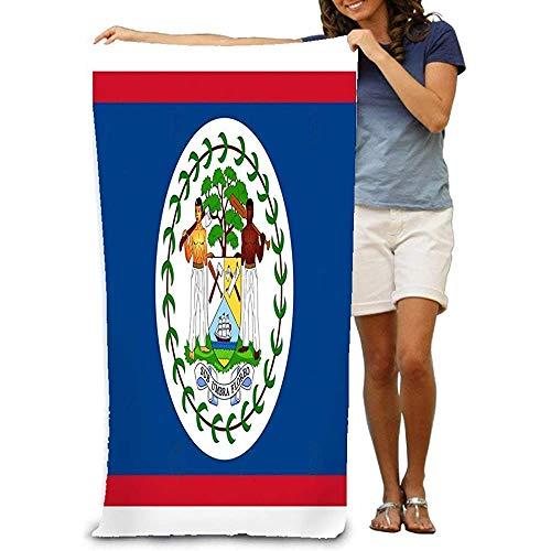 chillChur-DD Bath Towel Asciugamano da Bagno Morbido Grande Telo Mare Bandiera Belize Ai Aviabile Blu Rosso Bianco Verde Persone Bandiera araldica Belize