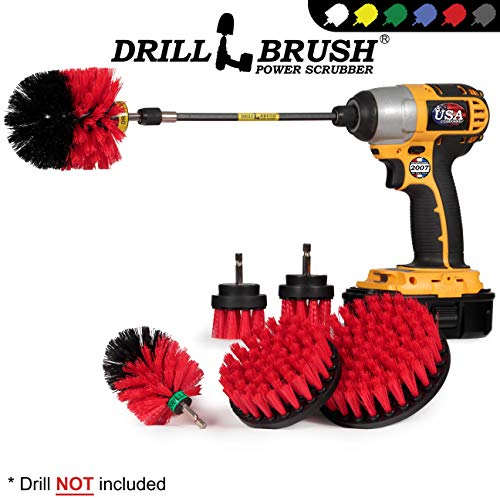 Drillbrush Ultimate Outdoor Cleaning Kit with 7 Inch Extension - Stiff Bristle Brush - Grout Cleaner – Mold - Mildew - Bird Bath - Garden Statues - Outdoor Water Fountain - Headstone - Granite Cleaner