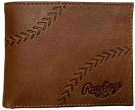 Rawlings Embossed Baseball Stitch Bifold Leather Wallet For Men
