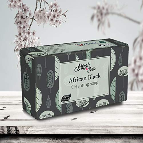 Mirah Belle - African Black Cleansing Soap - Organic and Natural- - Anti Acne, Blemishes, Infection, Rashes - Vegan and Handmade - 125 gms