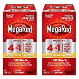 MegaRed Advanced 4in1 900mg, 120 softgels Value Pack (2 Bottles x 60 Each) - Concentrated Omega-3 Fish & Krill Oil Supplement