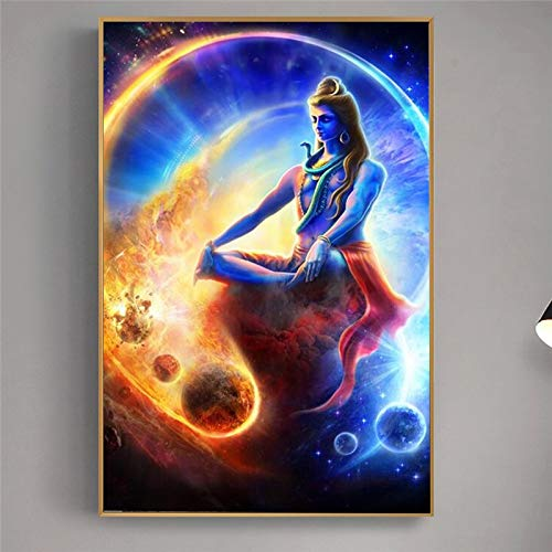 wZUN Shiva Retrato Pared Arte Carteles e Impresiones Dios hindú Lienzo Arte Mural Imagen de Arte hindú para Sala de Estar 60x90 Sin Marco
