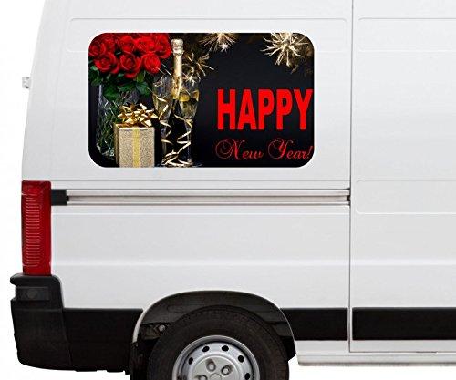 Autoaufkleber Sekt Glas Flasche New Year Sylvester Feuerwerk Car Wohnmobil Auto tuning Digital Druck Fenster Sticker LKW Bild Aufkleber 21B615, Größe 3D sticker:ca. 120cmx73cm