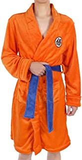 Mens Kimono Anime Bathrobe Sleepwear, Super Soft Dressing Gown Casual Knee Length Orange Nightwear Robe Pajamas Cloak