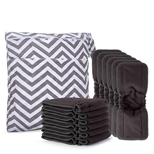 Damero Pañales Liners (12 piezas) con wet bag, Forros Reutilizable para Pañal, Insertos para Bebés Pañales Lavable, 5 capas, Fibra de bambú de carbón con pliegue elástico