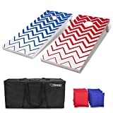GoSports Red and Blue Chevron Pattern Regulation Size Wooden Cornhole Set - Includes Two 4' x 2' Boards, 8 Bean Bags, Carrying Case and Game Rules, Red;Blue