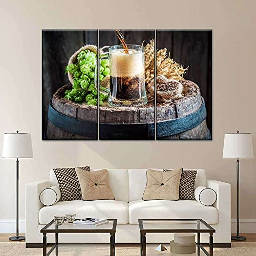 45Tdfc Lienzo de Arte de Pared,Lienzo de Acuarela,póster artístico,Cuadros de Pared Verduras de Cocina de Cerveza recién preparadas,Sala de Estar,decoración del hogar,pintura-30x50cm con Marco