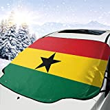 ZHYY Ghana National Flag Country Banner Car Front Windshield Snow Ice Cover,Fits Most Cars,SUVs,Vans or Truck Winter Summer Auto Sun Shade