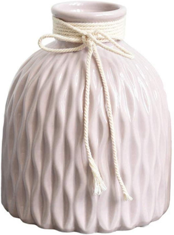 Pheisld Vase à Fleurs en Porcelaine Rose avec décor en Corde de Chanvre - Vase en céramique Design Wave