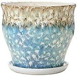 Qiutianchen Macetero de cerámica para exteriores con bandeja, maceta de porcelana para interiores y exteriores, balcón, decoración de escritorio, macetas de cerámica para plantas (tamaño mediano)