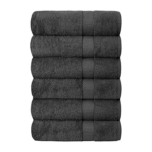 Quba Linen Luxury Hotel & Spa 100% Cotton Premium Bath Towels Set of 6 - 24x48 inch Ultra Soft Large Bath Towel Set Highly Absorbent Daily Usage Ideal for Pool and Gym Pack of 6