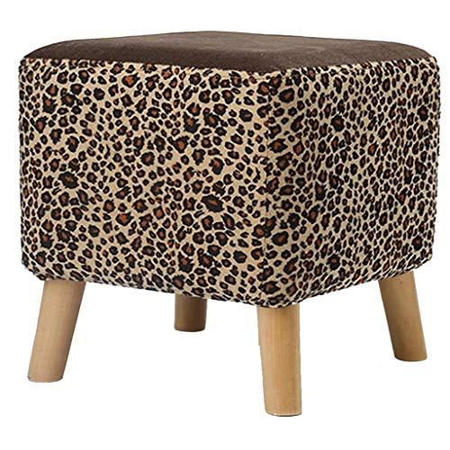 Yxsd Taburete otomano tapizado gris claro, taburete cuadrado de lino puffe silla multifunción para el hogar creativo (color: leopardo, tamaño: 29 x 29 x 29 cm)