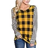 Sudaderas con Capucha Otoño E Invierno para Mujer Nueva Camisa De Fondo con Costura Superior A Cuadros De Manga Larga Camiseta Suéter con Capucha-Amarillo, XL