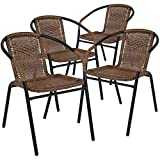 Flash Furniture 4 Pk. Medium Brown Rattan Indoor-Outdoor Restaurant Stack Chair...