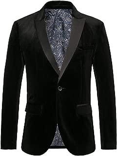 THWEI Mens Velvet Blazer Slim Fit Solid Blazer Sport Coat