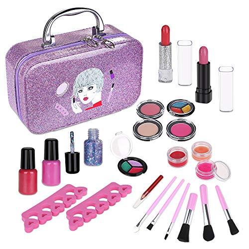 Anpro 23 PCS Coffrets Maquillage Enfant Jouet Fille Lavable Crayon à Sourcils Vernis à Ongles, Ombre à Paupières Scintillante Jouet Cadeau de Noël Anniversaire pour Princesse Filles Plus de 5 Ans
