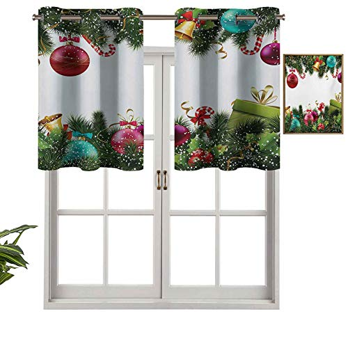Hiiiman Valance Grommet Top Happy New Year Greeting Celebrations with Holly Garland Artful Design, Set of 2, 54'x24' for Kitchen Bathroom Curtians for Cafe