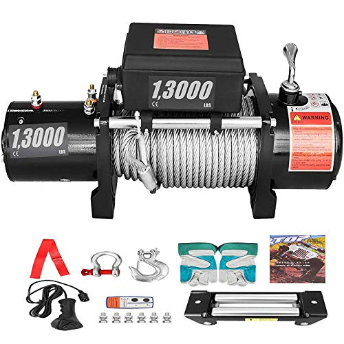 CXRCY Electric Winch 13000 lb Load Capacity 12V Truck Winch Kit with 80ft/24m Steel Rope Waterproof Off Road Boat Winch for Jeep,Truck,SUV with Wirless Remote and Corded Control