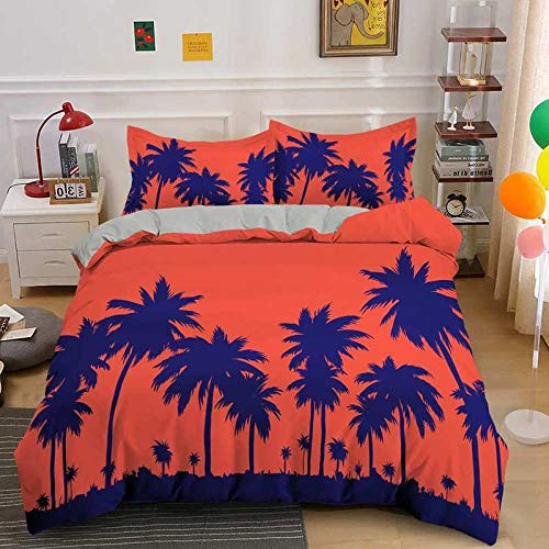 NNDHYS 3D Palm Tree Bedding Set Comforter Cover Scenery Single Double Queen King Size H893 King 220x240cm