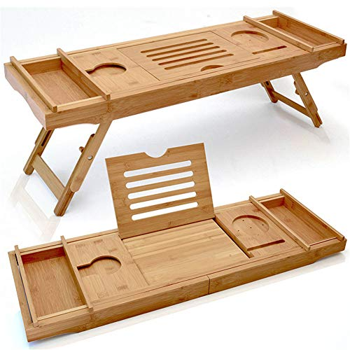 WOCAO Badewanne Caddy & Laptop Bett Schreibtisch - Das Original Patentierter 2 in 1 Innovative Design-Wandelt Unsere 100% Extra Large Bamboo Badewanne Fach Zu Bett-Behälter (Natural Bamboo)