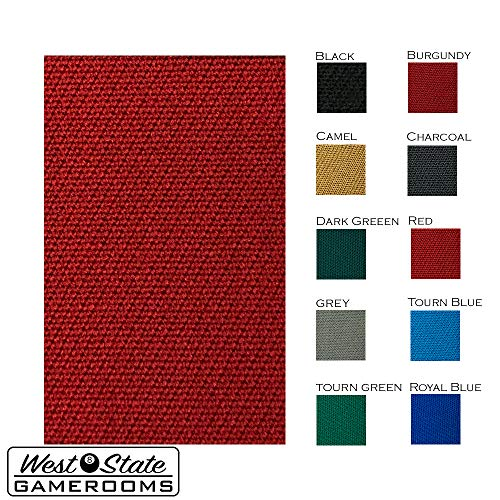 Worsted Blend Fast Speed Pool Cloth - Pool Table Felt - 9 feet - Billiard Cloth and 6 Rail pre-Cut Rail Pieces - No Nap  Tournament Grade - Red