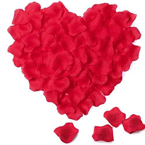 Meersee Pétalos de Rosa en Seda 2000Pcs Pétalos de Rosa en Seda para Bodas Confeti, Rojo
