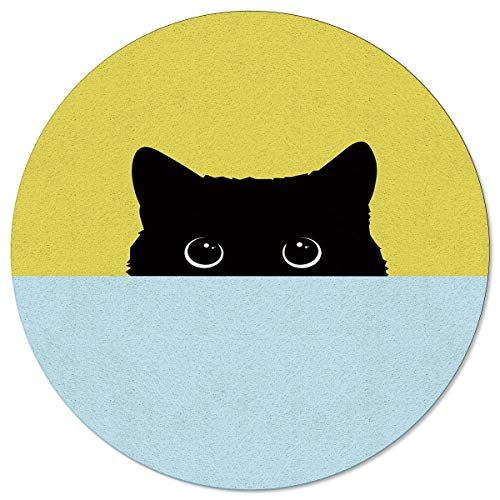 SunnyM - Alfombra Redonda para Sala de Estar, Dormitorio, Cocina, Antideslizante, diseño de Gato Peekaboo, Color Negro, Azul, Amarillo, Cat6s8348, 4\'x4\'