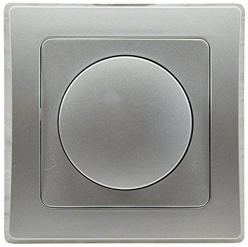 Delphi Dimmer für dimmbare 230V LED Lampen 3-60W mit 1-Fach Rahmen Geeignet für Mehrfachrahmen Einsatz 55x55mm Silber Grau