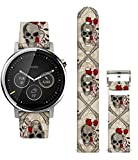 Ecute Quick Release-20mm Width Leather Watch Band Strap for Samsung Gear S2 Classic/Gear Sport/Huawei/Ticwatch/Garmin/Moto/Galaxy Watch Active 2 for Men and Women - Red Rose with Skulls