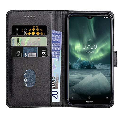 Baiyian Ledertasche Brieftasche Schutzhülle Flip Hülle für Nokia 7.2, Schwarz