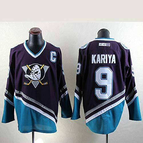 Charlie Conway # 96 / Selanne # 8 / Karya # 9 Anaheim Ducks Eishockey Trikots Herren Sweatshirts Atmungsaktiv T-Shirt Langarm Hockey Trikot(M-XXXL),9#,XXL