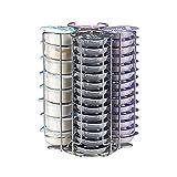 Soporte para cápsulas de café de Tassimo para 52 discos en T, soporte giratorio de alambre, color plateado