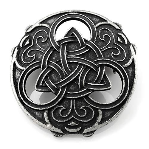 URBANTIMBER Wikinger Fibel Triquetra mit Keltischen Knoten - Silber