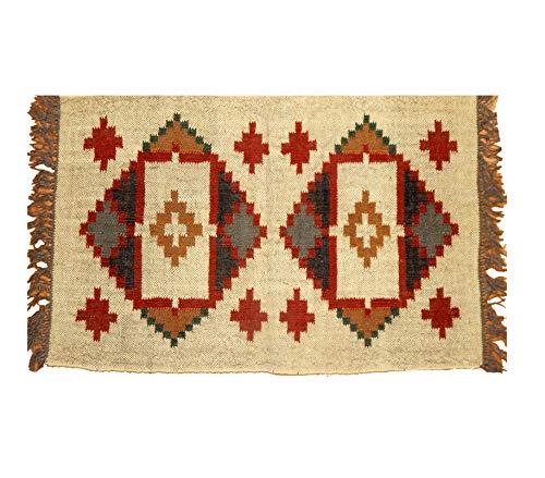 Alfombra bohemia grande para sala de estar, hecha a mano, hecha a mano, estilo étnico, Kilim, alfombra de yute, alfombra de área india, manta étnica, alfombra Kelim, alfombra hecha a mano Kilim